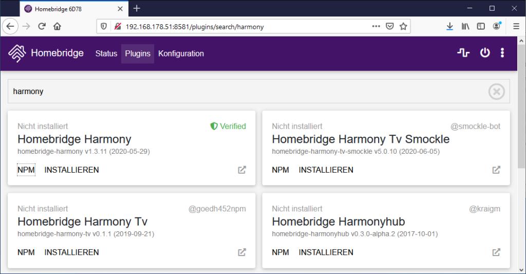 Homebridge Harmony Plugin