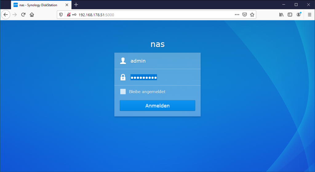 Synology DS218+ Login