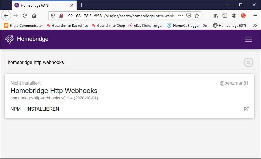 Homebridge Http Webhooks plugin