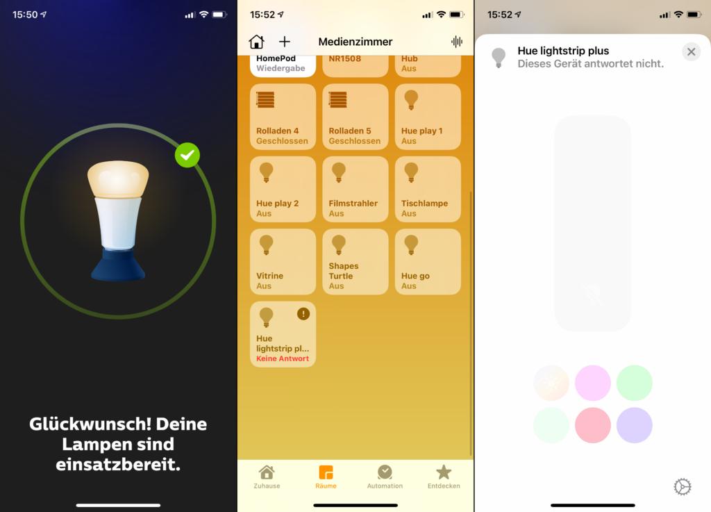 Hue Lightstrip in Home App